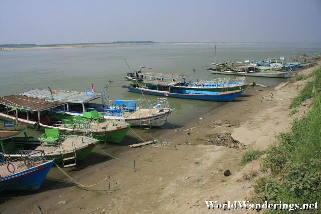 Boats by the Ayeyarwaddy River