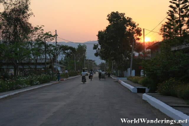 Sunset on the Streets of Nyaungshwe