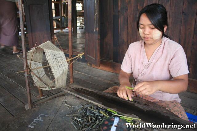 Local Villager Making Lotus Thread
