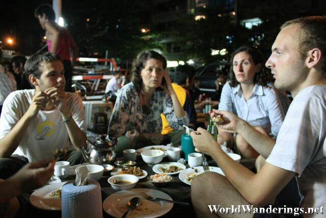 United Nations at the Eating on the Streets of Yangon