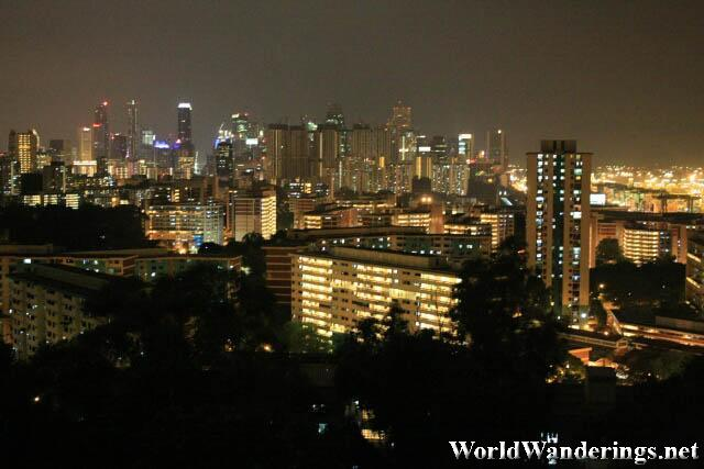 Night Time View of Singapore Cityscape