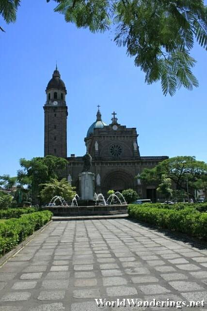 View of the Manila Cathedral from Plaza Roma