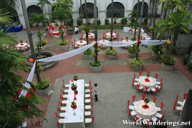 Preparing for the Wedding Reception at San Agustin Church Courtyard