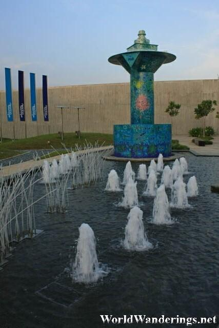 A Fountain at One of the Entrances to Marina Barrage