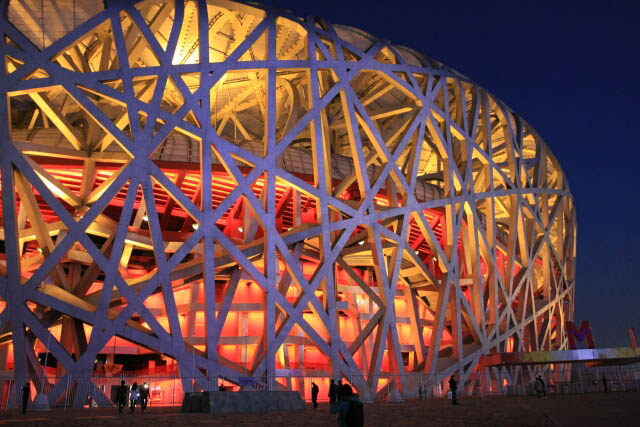 Detail on the Beijing National Stadium 北京国家体育场 at Night