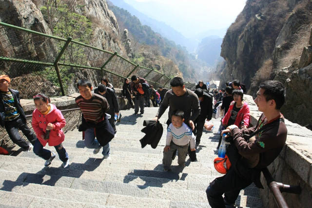 Tired Visitors to the Top of Mount Tai 泰山