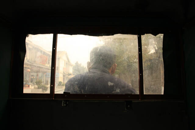 View of the Outside From Within the Motorcycle Taxi in Qufu 曲阜