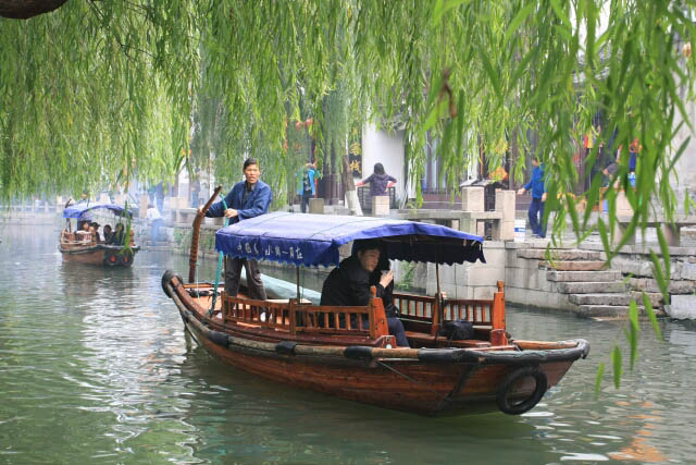 Boat Coming Through the Willow Trees in Zhou Zhuang 周庄