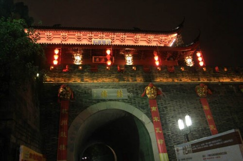 Brightly Lit Drum Tower in Hefang Street