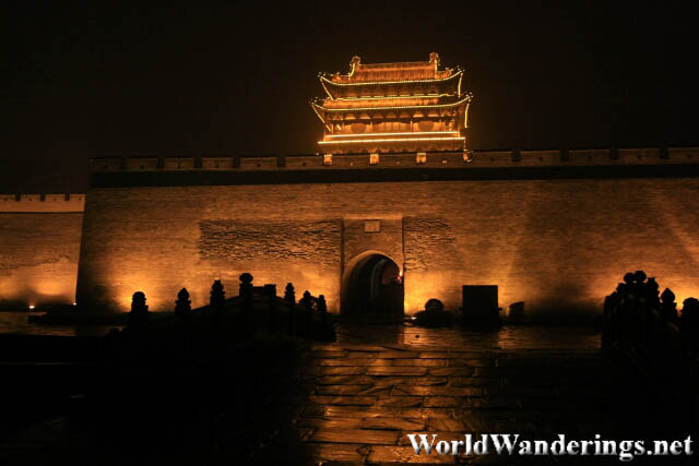 The Brightly Lit South Gate of the Pingyao Ancient Town 平遥古城