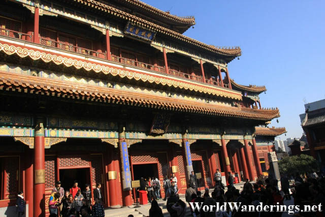 Outside the Hall of the Wheel of the Law in the Beijing Lama Temple 雍和宫