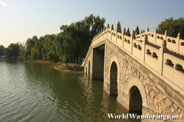 Bridge Along Fuhai Lake in Yuanmingyuan Park 圆明园