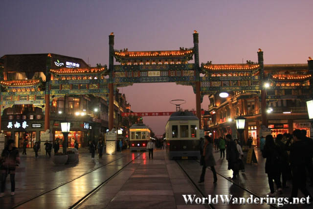 Sunset at Qianmen Pedestrian Street 前门大街
