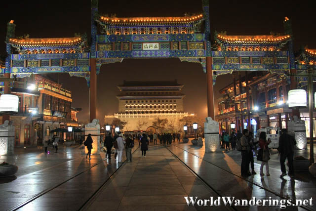 Entrance of Qianmen Pedestrian Street at Night