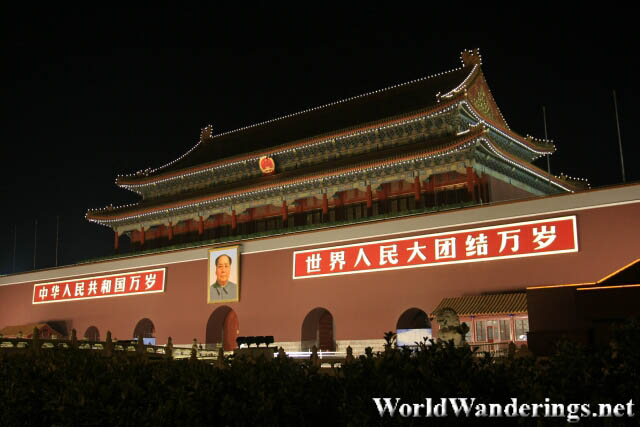 The Gate of Heavenly Peace at Night in Beijing