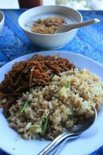 Carbo Overload with Fried Rice and Noodles for Breakfast at Senja Bay Resort