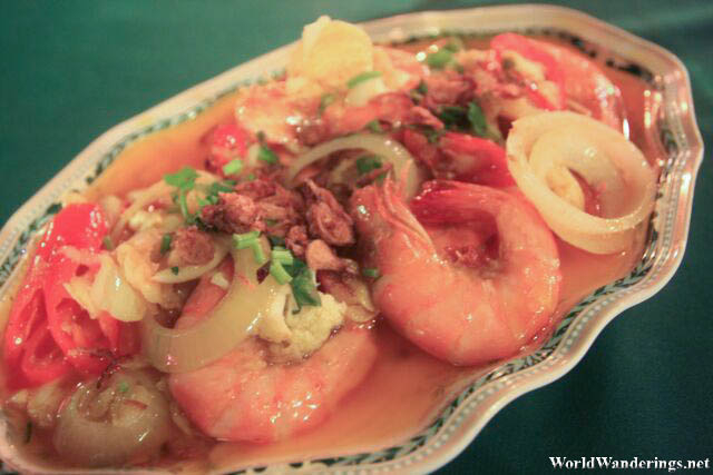 Buttered Shrimp for Dinner at Perhentian Kecil