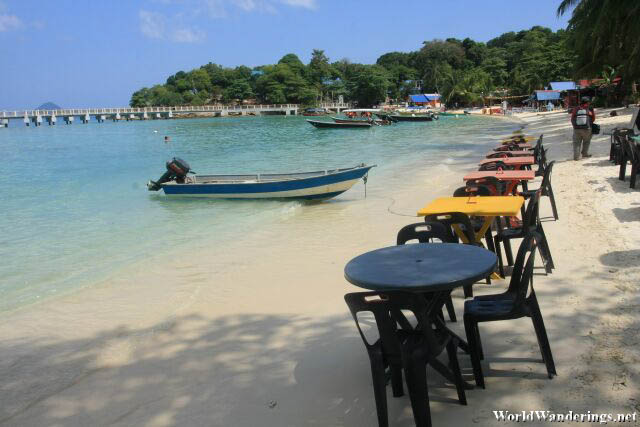 Tables By the Beach at Coral Bay at Perhentian Kecil