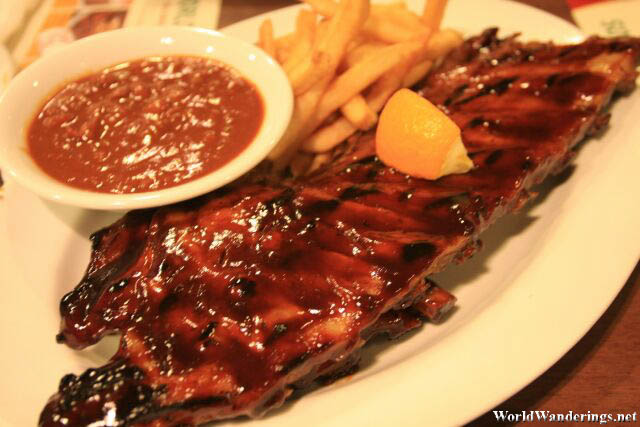 Baby Back Ribs at Tony Roma's in Singapore