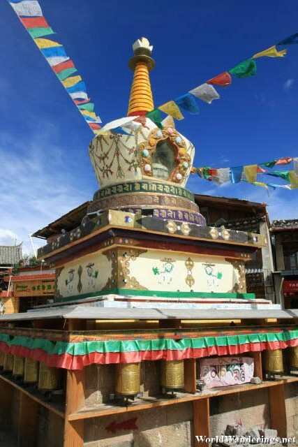 Tibetan Chorten in the Middle of Dukezong Ancient Town 独克宗古城