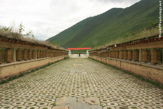 Rows of Prayer Wheels at the Foot of Shika Snow Mountain 石卡雪山