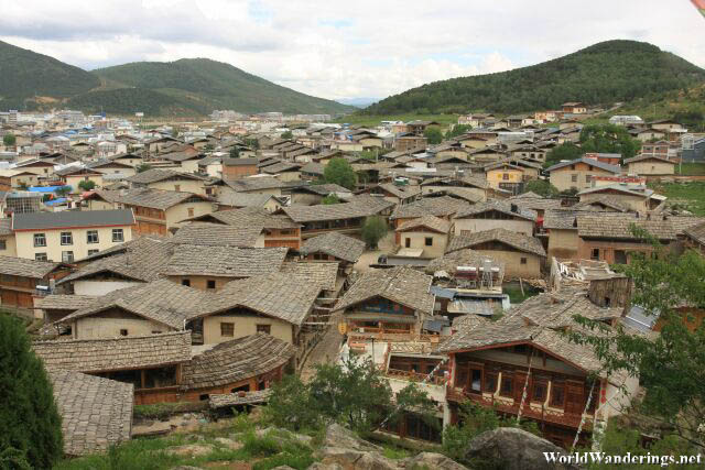 View of Dukezong Ancient Town from Guishan in Shangrila 香格里拉
