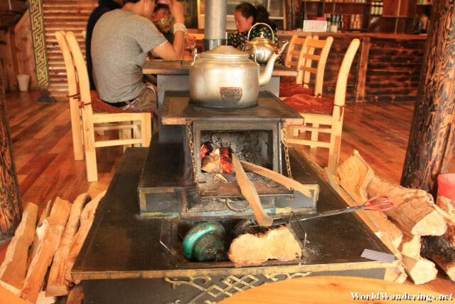 Firewood to Heat Water at Soyola Tibetan Diner