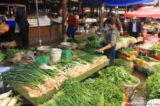 A Lot of Greens Here at the Market in Lijiang Ancient Town 丽江古城