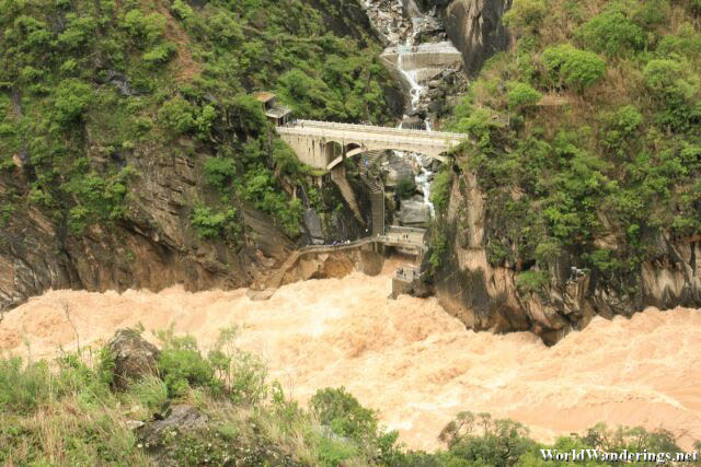 Raging River Below the Bridge at the Upper Tiger Leaping Gorge 虎跳峡