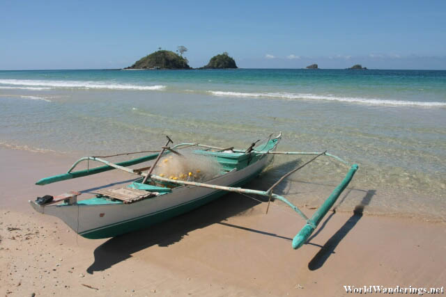 Outrigger Boat in Nacpan Beach
