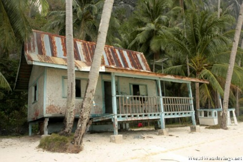 Old Wooden House at a Private Beach in Pinagbuyutan Island in El Nido