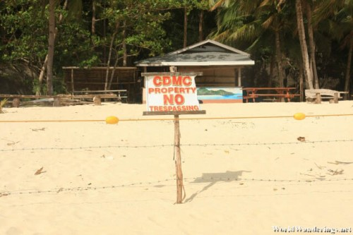 As the Sign Says, No Tresspassing at Seven Commando Beach in El Nido