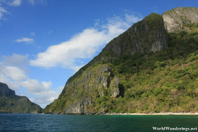 Soaring Limestone Mountains at Ipil Beach