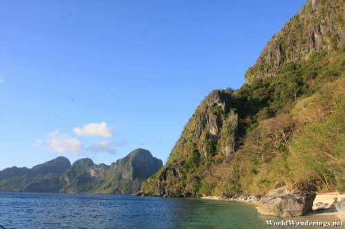 Beautiful Karst Scenery at Ipil Beach with Cadlao Island in the Background