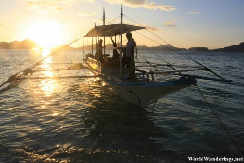 Our Outrigger Canoe at Ipil Beach in El Nido