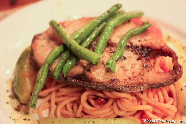 Fish Steak with Spaghetti at the Alternative Center
