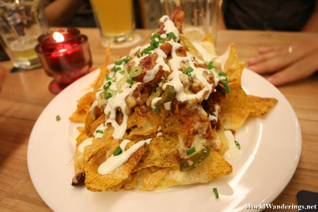 Large Pile of Nachos at Sque