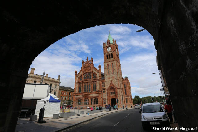 The Guildhall Framed by the Walls of Derry-Londonderry