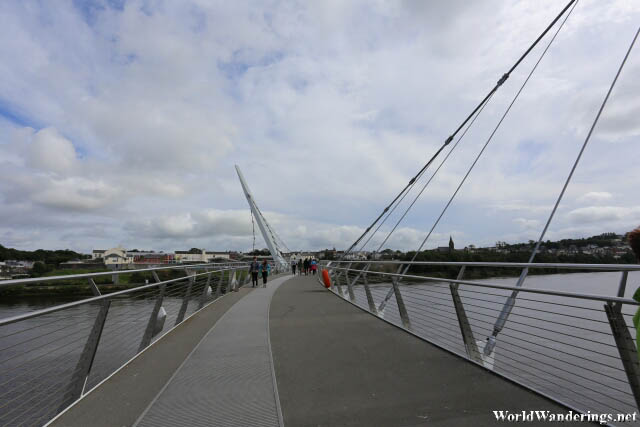 Crossing the River Foyle at the Peace Bridge in Derry-Londonderry