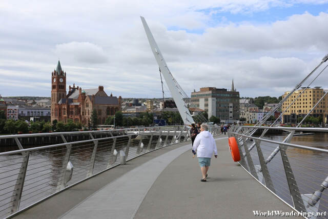 Heading Back to the City of Derry-Londonderry on the Peace Bridge