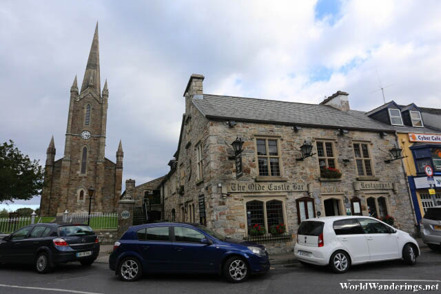 The Olde Castle Bar Beside the Church of Ireland in Donegal