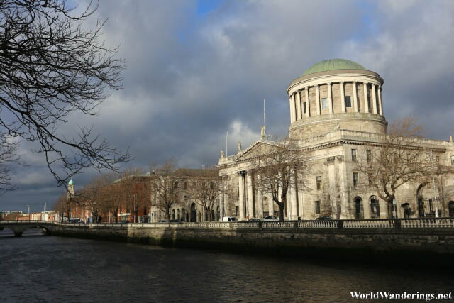 Four Courts Building Along the River Liffey