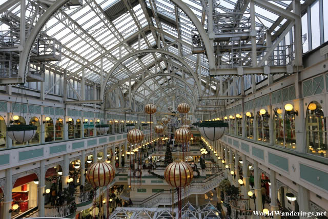 Beautiful Interiors of the Saint Stephen's Green Shopping Center in Dublin