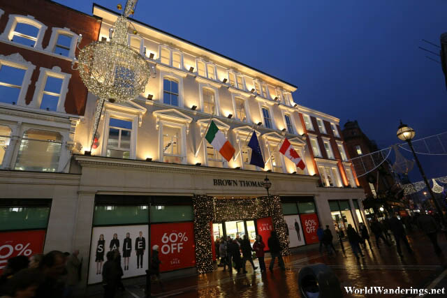 Beautifully Lit Building in Grafton Street
