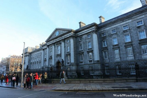 Outside Trinity College in Dublin