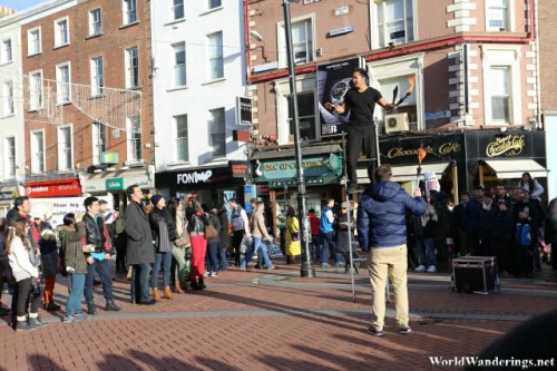 Balancing Act in Grafton Street in Dublin