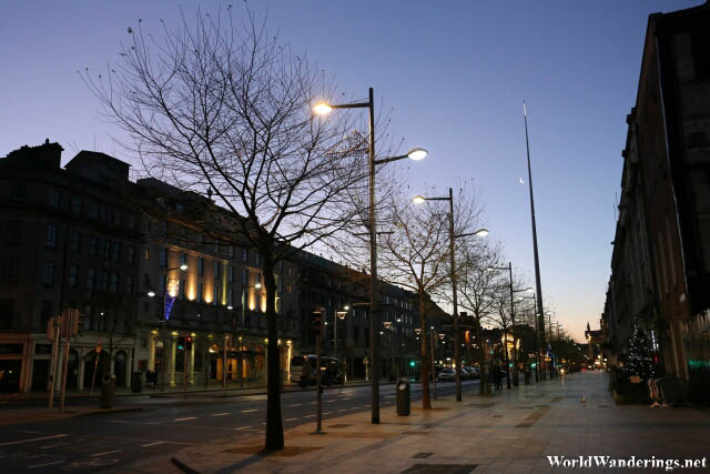 Sunrise at O'Connell Street in Dublin