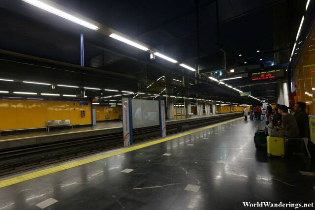 Waiting for the Train at Madrid's Metro