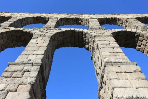 Closer Look at the Arches of the Aqueduct of the Old Town of Segovia