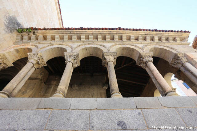 Beautiful Columns at the Church of San Millán in the Old Town of Segovia